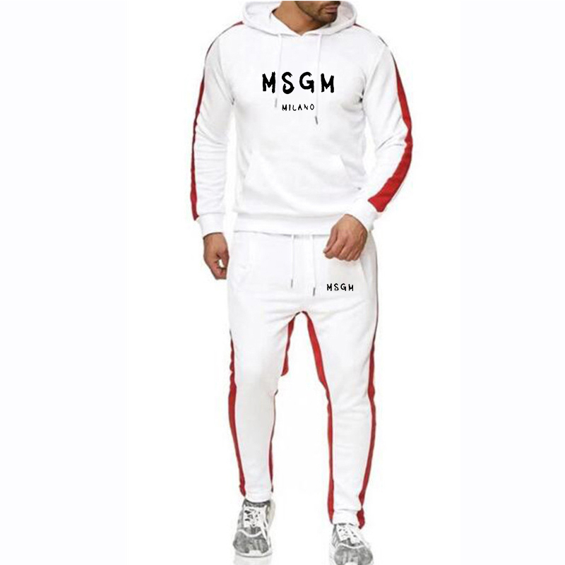 New Tracksuit Set Splice Hoodie Set Hoodies+sweatpants Fitness Jogging Homme Msgm Sweatshirts Sets Winter Fleece Sportswear Set