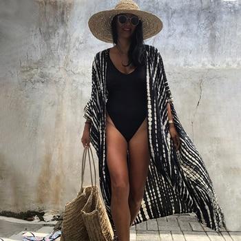 2021 Bikini Cover-ups Black Retro Striped Self Belted Women Summer Kimono Dress Beach Wear Swim Suit Cover Up Q1225
