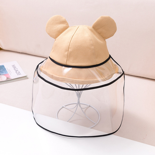 Dual-use Sun Hat Baby Kids Bucket Hat Cute Protective Face Shield Cover Mask Boys Girls Hats Anti Saliva Dustproof Fisherman Cap 4
