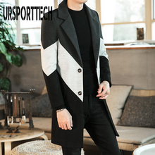 2020 New Autumn Winter Trench Coat Male Button Long Sleeve Fitness Clothing Fashion Warm Streetwear Men Long Coat Plus Size 3XL