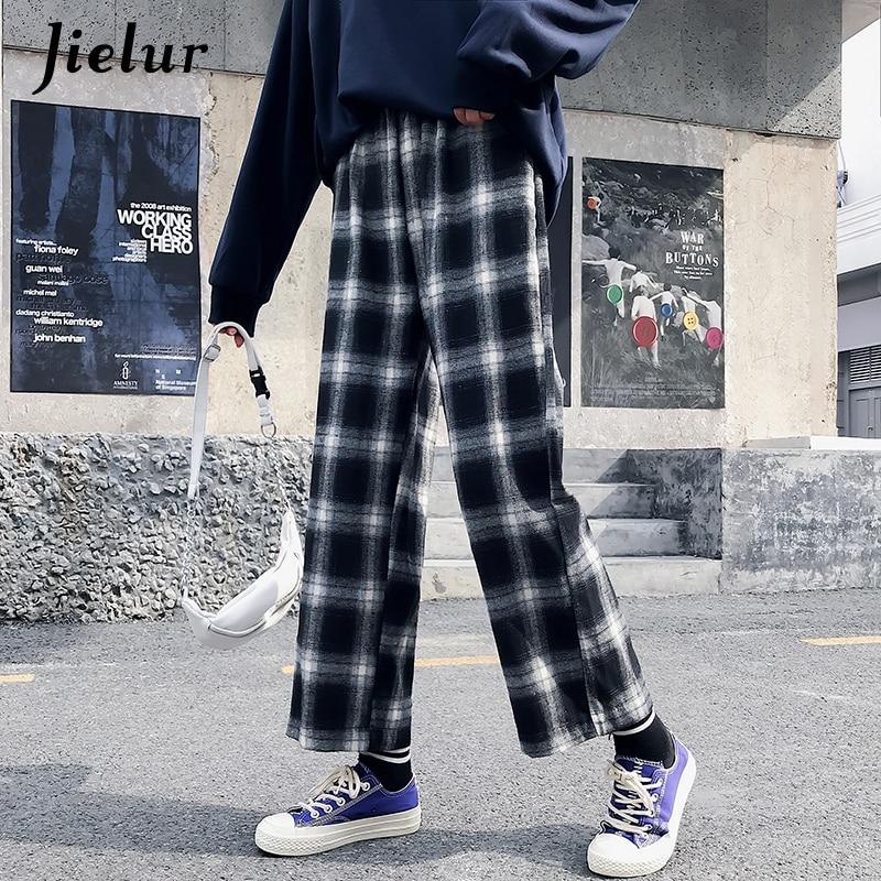 Jielur Ulzzang Korean Pants Women 2019 Harajuku Hip Hop Hipster Loose Wide Leg Pants Black Plaid Pantalon Femme Streetwear M-XL