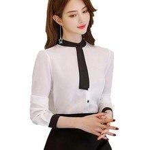 Elegant Women Korean Chiffon Blouse Casual Long Sleeve Womens Tops and Blouses Office Ladies Round Collar White Shirt 2019