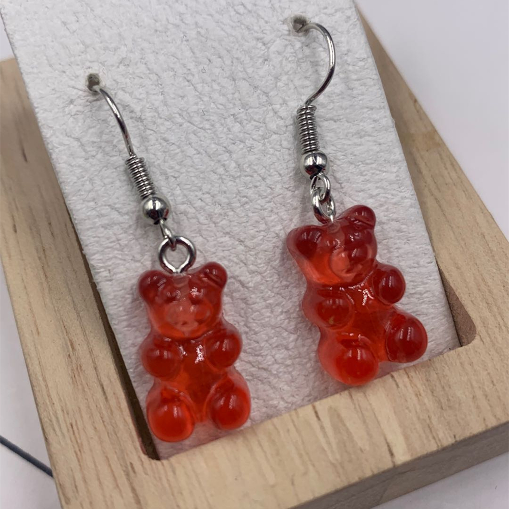 Cartoon Cute Resin Earrings Colorful Animal Bear High Quality Drop Earring Candy Color Kids Gifts