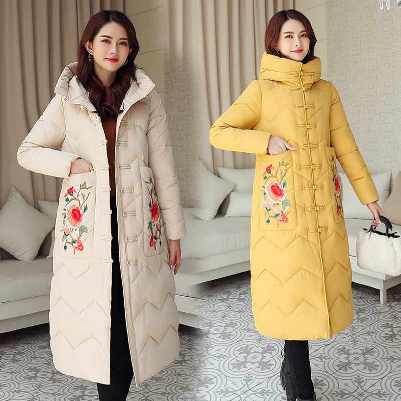 SWREDMI Casual Winter Coats Women Thicken   Parkas   Embroidery Floral Jackets Women Hooded Long Warm Clothing
