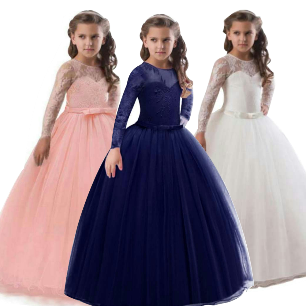 New Style Girl Flower Long Dress For Wedding Vestidos De Primera Comunion Kids First Communion Dress Pageant Ball Gown For Girls