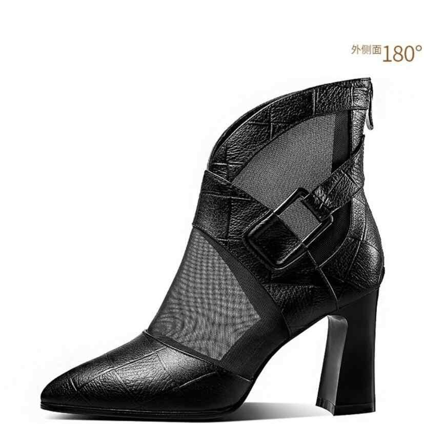 Kadınlar yüksek topuklu yarım çizmeler sivri burun kalın topuk gladyatör kısa çizme toka siyah sonbahar ayakkabı