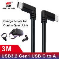 Câble de USB Type C 10ft 3M Oculus Quest Link Compatible VR vitesse transfert de données Charge rapide USB 3.2 type-c avec USB C à un adaptateur