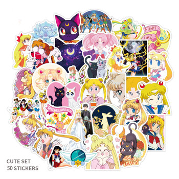 50pcs Anime Sailor Moon Sticker Water Ice Stickers Motorcycle Skateboard Notebook Guitar Suitcase PVC Waterproof - discount item  33% OFF Classic Toys