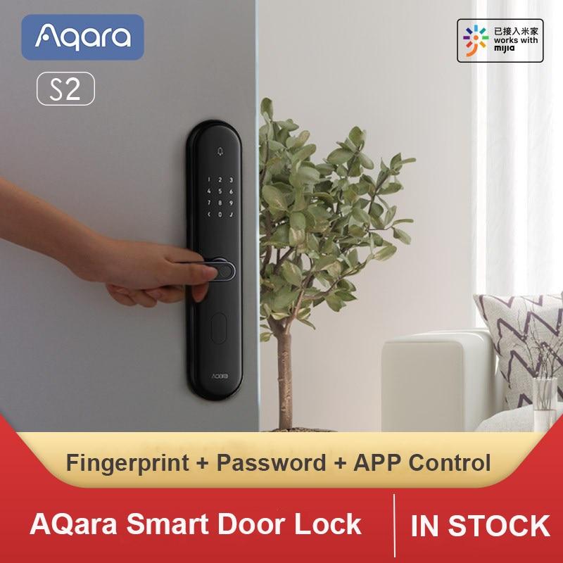 Оригинальный умный дверной замок AQara S2, блокировка отпечатков пальцев, блокировка без ключа, умная связь, работает с приложением Mijia для комп