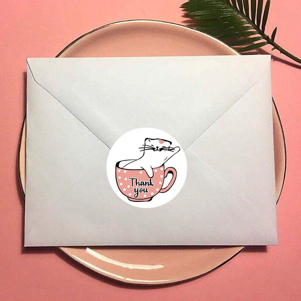 500 pçs presente adesivos de selagem obrigado