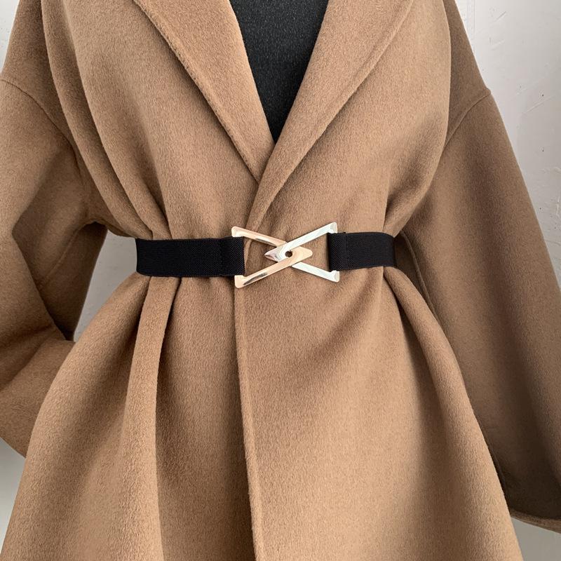 2021 New Women's Belts Fashion Metal Triangle Buckle Decoration Belt Ladies Elastic Canvas Waistband for Wedding Dress Overcoat