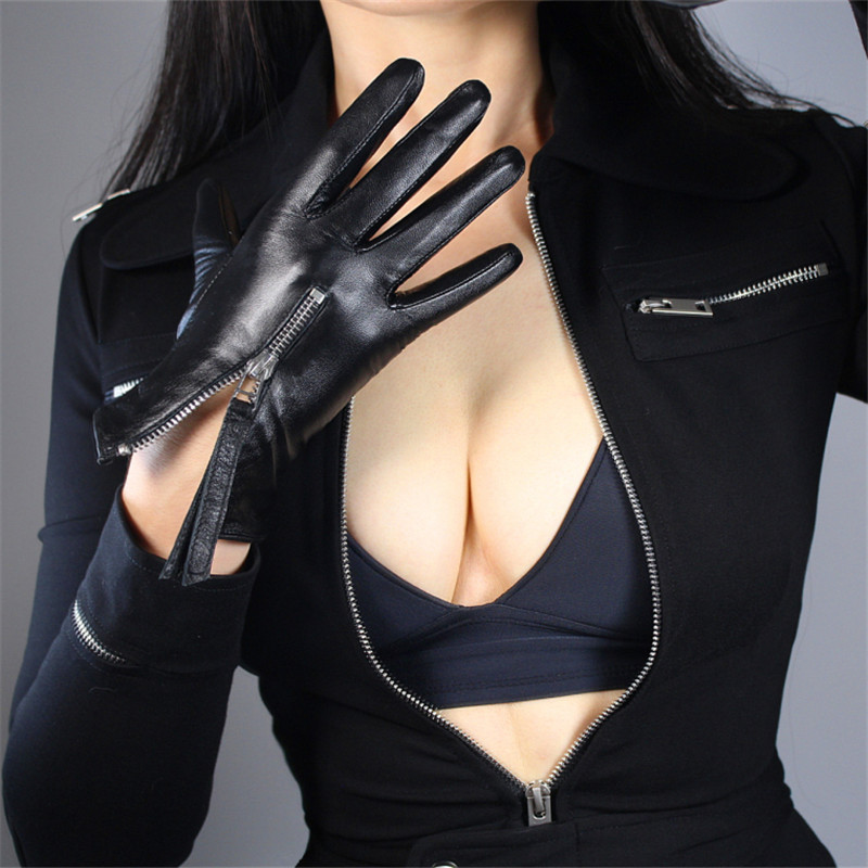 Touchscreen Genuine Leather Gloves 21cm Short Style Pure Imported Goatskin Bright Leather Black Female Touch Silver Zipper WZP10