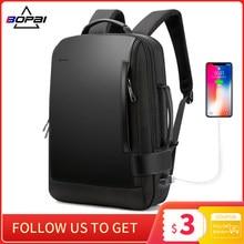 BOPAI Men's Backpack 15.6 Inch Laptop Bagpack Black Expandable Mochila for Man USB Charging Male Travel Nylon Rucksacks