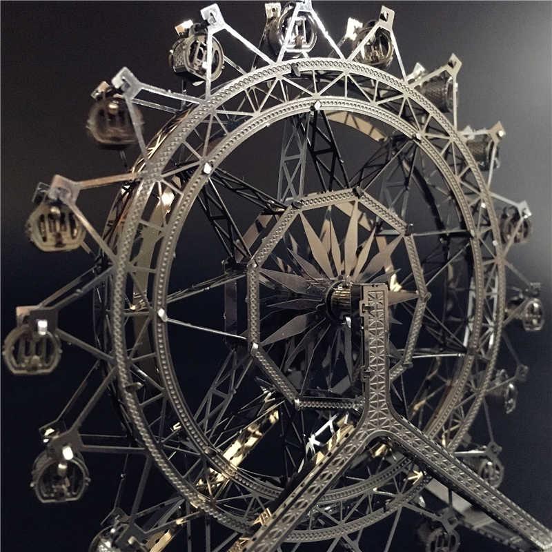 Mmz Model NANYUAN 3D Logam Puzzle Ferris Wheel Arsitektur DIY Merakit Model Kit Laser Cut Jigsaw Mainan Hadiah
