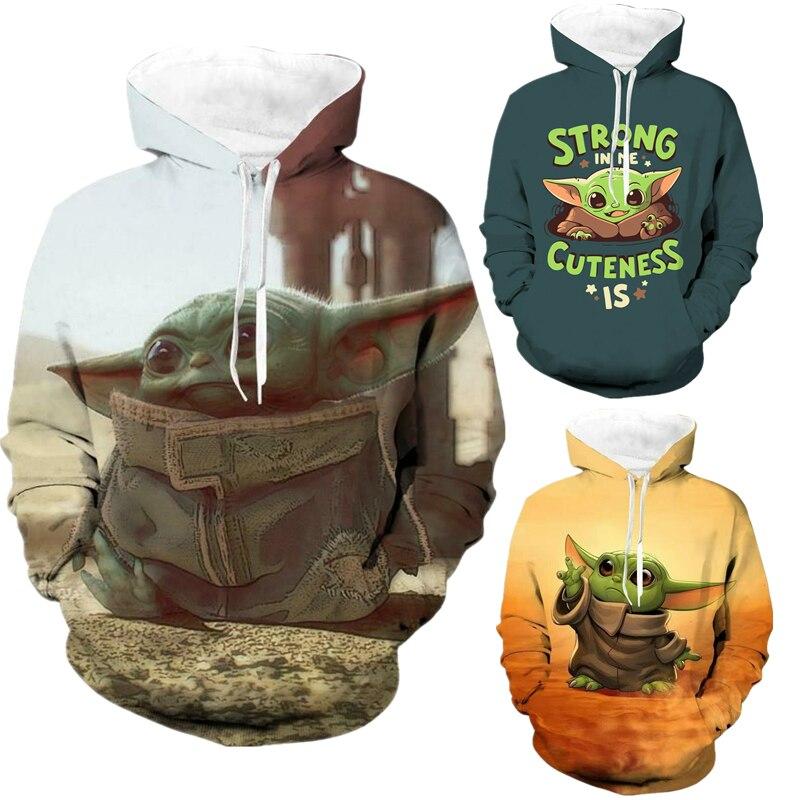 Star Wars The Mandalorian Baby Yoda 3D Print Hoodies Sweatshirts Cosplay Costumes Hooded Casual Coat Jacket