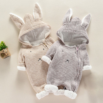 Toddler Infant Baby Clothing Boys Girls Kawaii Cartoon Hooded 3D Ear Romper Jumpsuit Clothes Winter Warmer Newborn Kid Costumes new born baby clothes infant newborn baby boys girls cartoon print ear hooded romper jumpsuit outfits baby winter clothes 9 12