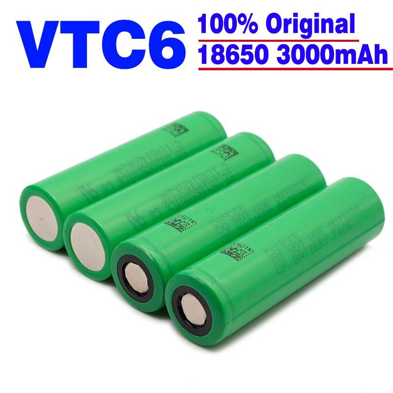 Оригинальный 18650 батарея VTC6 3,7 V 3000 мА/ч, 18650 перезаряжаемый аккумулятор для электронных сигарет us18650 vtc6 30A игрушечные фонари инструменты
