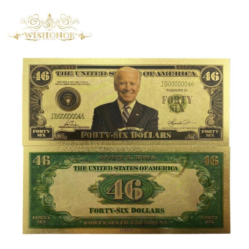 2021banknotes s novo tipo américa biden notas 46 notas de dólar em 24k banhado a ouro dinheiro falso como presente de negócios
