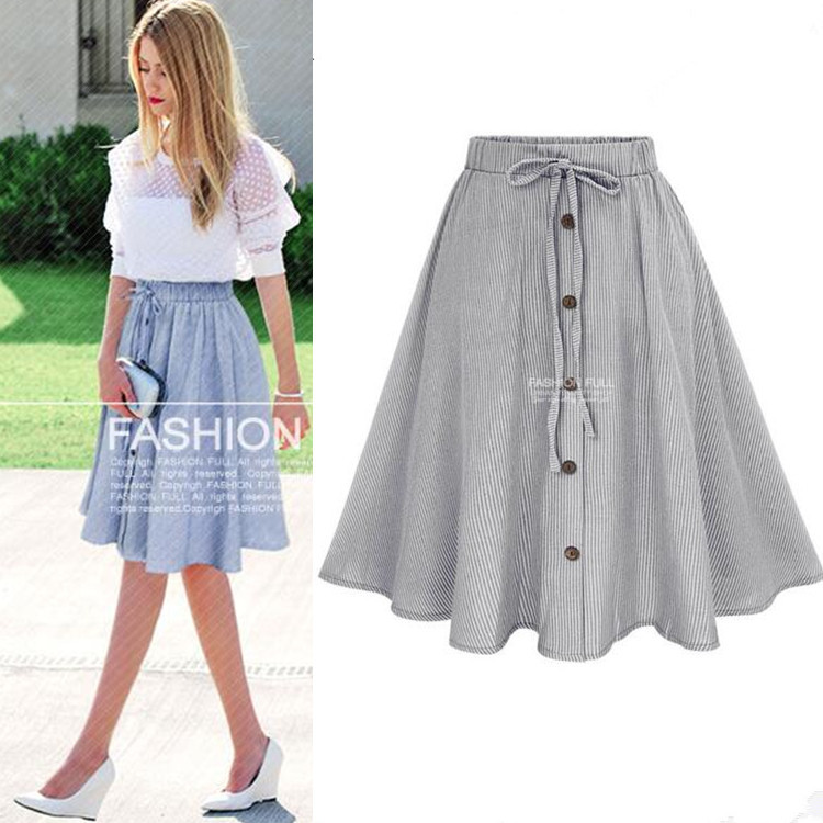 Western Style 2018 Summer New Style WOMEN'S Dress Lace-up Stapling Thin Stripe Dress