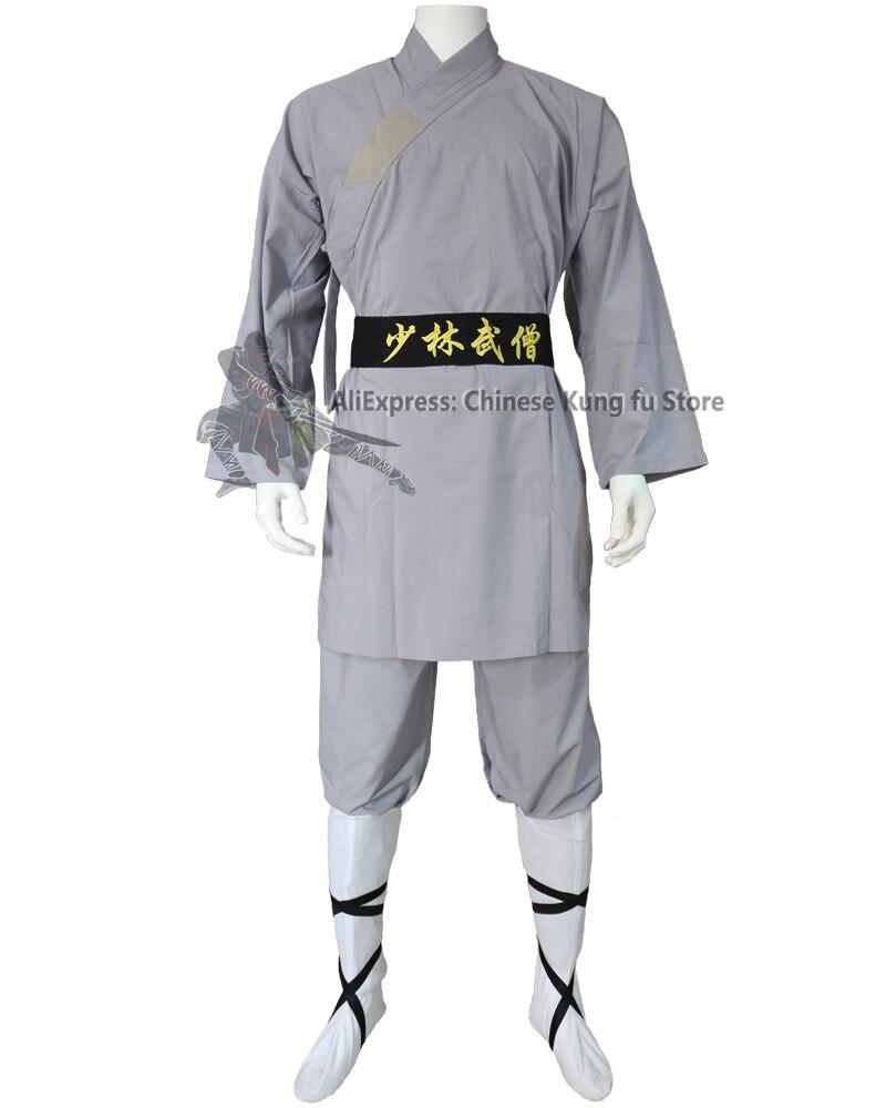 Красивый серый хлопок шаолин монах кунг-фу Униформа Тай Чи боевые искусства крыло Чунь костюм для ушу