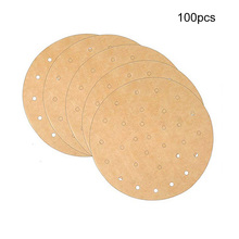 100 Pcs Unbleached Air Fryer Paper Round Perforated Steaming  Dim Sum Under Steam Mat Non Stick Steamer