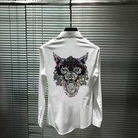 Herren Business Hemd Mode Tiger Kopf Persönlichkeit Übertrieben Heißer Strass Hohe Qualität Hip Hop Baumwolle Marke Langarm