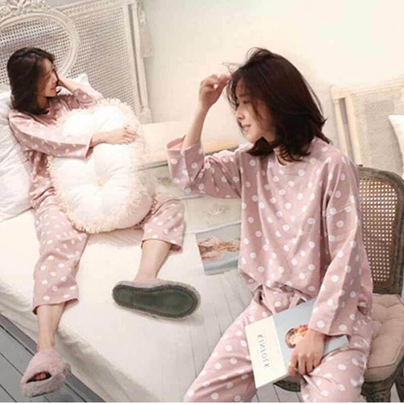Womens Pajamas Sets Round Neck Cartoon Spring Printed Kawaii Totoro Cartoon Sleepwear Nighty Autumn Winter Pajamas For Women