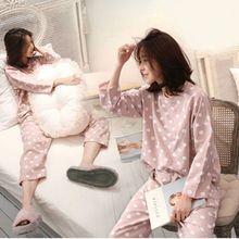 Womens Pajamas Sets Round Neck Cartoon Spring Printed Kawaii