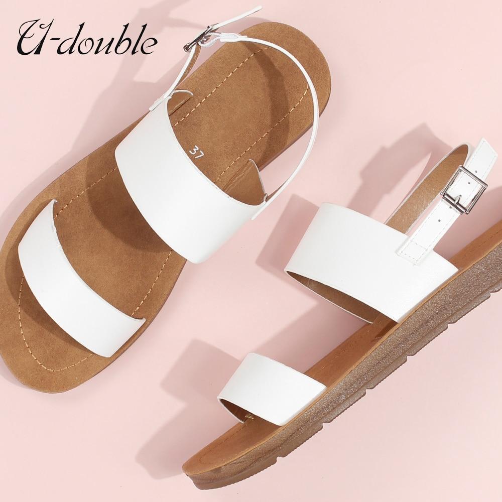 U-DOUBLE קיץ נשים נעליים יומיומיות נעלי רומא רטרו עבה תחתון פתוח הבוהן סנדלי החוף להחליק על שקופיות מותג עיצוב סנדלי