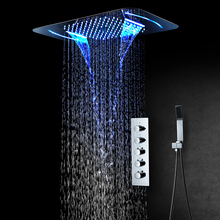 LED Light Shower Head Waterfall Rainfall Shower Bathroom Thermostatic Shower Faucets Mixer Massage 304 SUS Showers Ceiling Mount wall mounted rainfall waterfall shower head black shower faucets set thermostatic for bathroom hand held showers