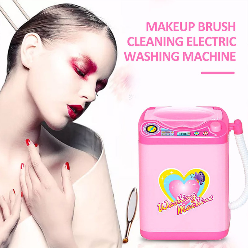 Washing Machine Toys Mini Washing Machine Brush Cleaner Cosmetic Automatic Electric Pink 360 Rotation Beauty Tool Kids Health
