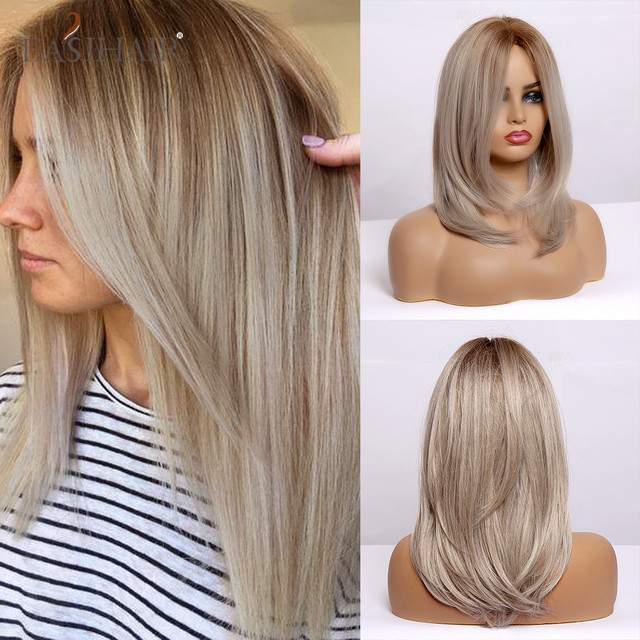 Best Discount 1fb9b Easihair Ombre Light Blonde Medium Length Straight Natural Hair Wigs Middle Part Heat Resistant Synthetic Wigs Cosplay For Women Cicig Co