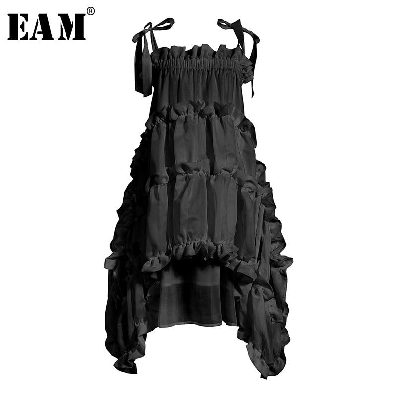 [EAM] Women Irregular Ruffles Spaghetti Strap Dress New Round Neck Sleeveless Loose Fit Fashion Tide Spring Summer 2020 1W571