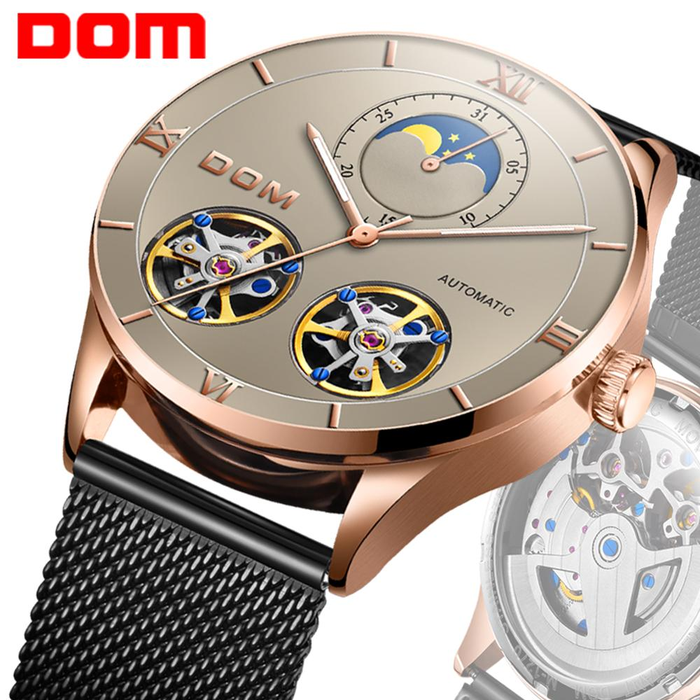 DOM Mens Watches Top Brand Luxury Automatic Mechanical Watch Men Full Steel Business Waterproof Sport Watches M-1270GK-5M