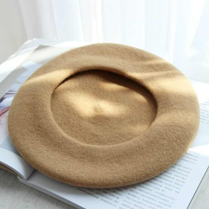 ליידי אביב סתיו צרפתית קלאסי מוצק צבע צמר כומתת נשים צייר כובע בציר כומתות כובעי נקבה מצנפת חם הליכה כובע