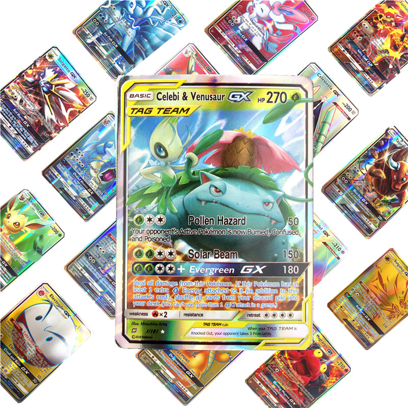 25/50/100pcs Game Cards Trading   Pokemones  Cards Game Collection Card English Version Battle Carte Kids Toys