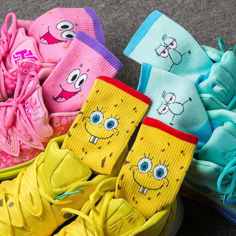 Sponge Socks Bob Women Short Socks Crew Long Basketball Socks Cartoon Character Squarepants Patrick Star Socks Cotton Unisex Men
