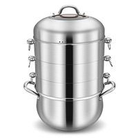 4 layers 304 Stainless Steel Steamer Pot with Transparent Lid Thicken Without Holes Steamer Rice Food Steam Pot Fast Boilers