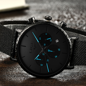 Image 5 - 2019 LIGE New Mens Watches Casual Fashion Watch For Men Sport Mesh Belt Date Watch Waterproof Quartz Clock Relogio Masculino+Box