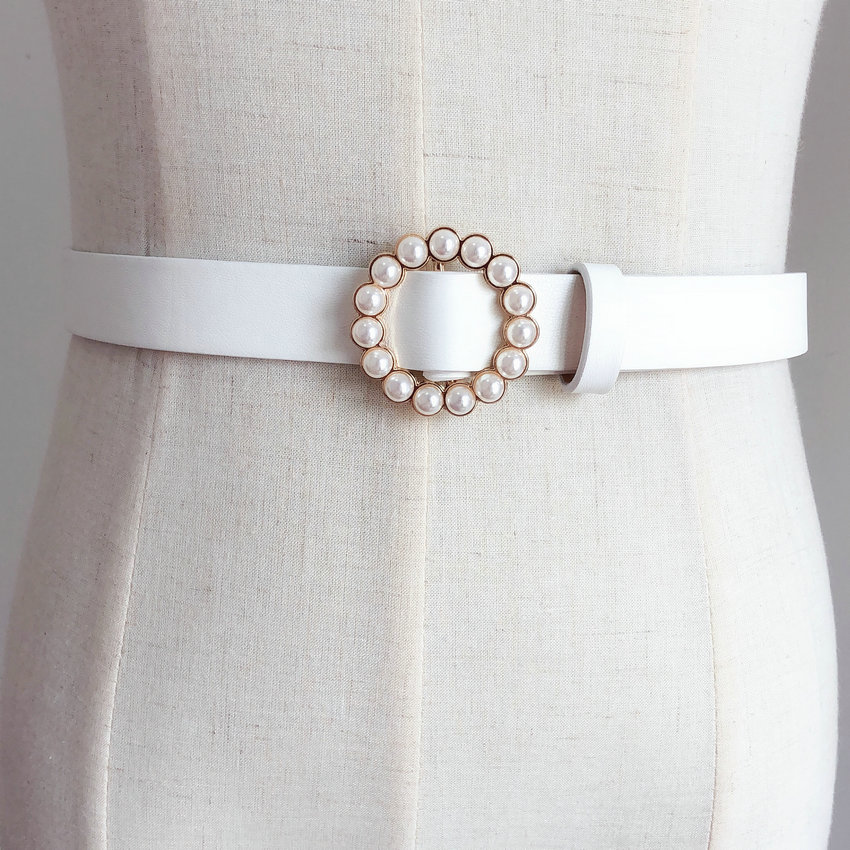 Pearl Round Pin Buckle Women Fashion Simple Ladies Trend Leather Belt For Women's New Youth Brand Belt Free Shipping