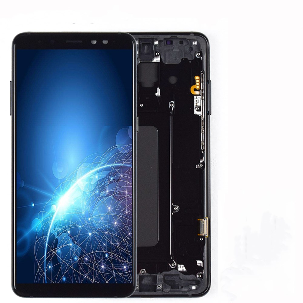 6.0 Inches Super AMOLED LCDs For SAMSUNG Galaxy A8 Plus 2018 A730 LCD Display+Touch Screen Digitizer Replacement With Frame LCD
