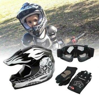 Motorcycle Youth Kids Helmet ATV Motocross Dirt Bike Black  Helmet w/ Goggles+Gloves S M L XL 1