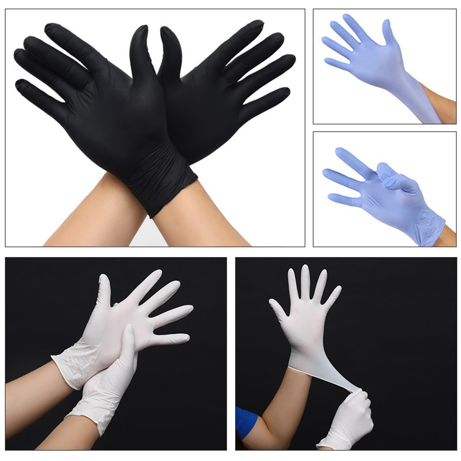 Satkago 100pcs Disposable Gloves Nitrile Rubber Examination Gloves For Home Kitchen Food Medical Cosmetic Supplies