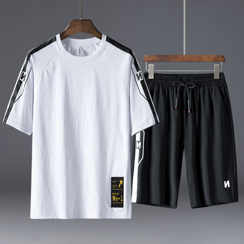 2019 Summer New Style Multi-color MEN'S Sports Suit Short Sleeve T-shirt Men Casual Fashion Shorts Two-Piece Set