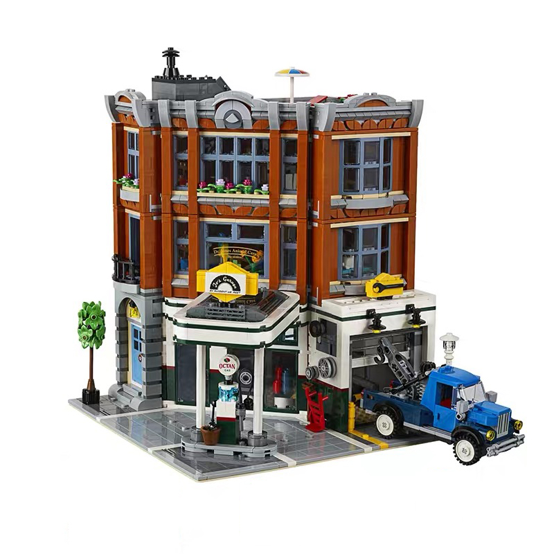 City Series Corner Garage City Street View Assemblage Building Block Kit Bricks MOC Model Toy For Children Gift
