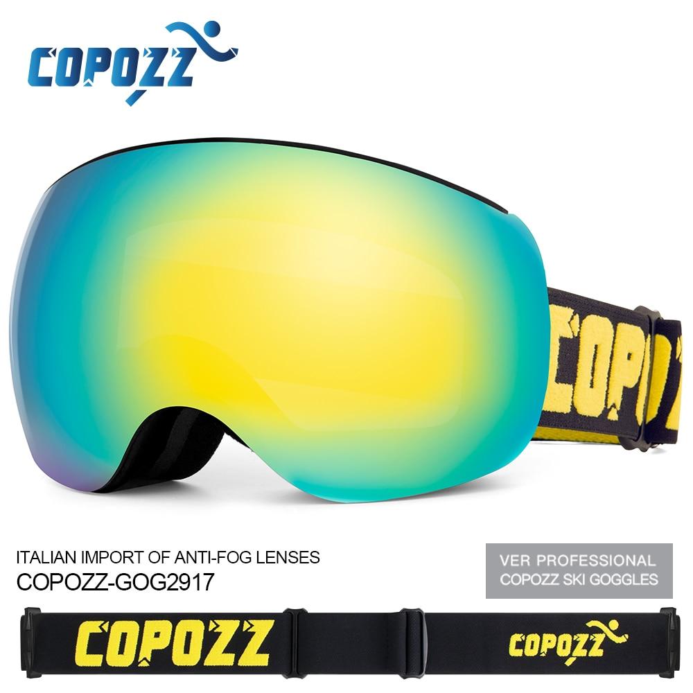 Copozz Snowboard Ski Goggles UV400 Protection Magnet Adsorption Anti-fog Lens TPU Ski Glasses Snow Skiing Glasses Big Mask