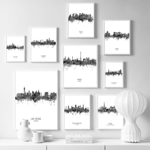 World Famous City Landscape Wall Art Canvas Painting Nordic Posters And Prints Black White Watercolor Pictures Kids Room
