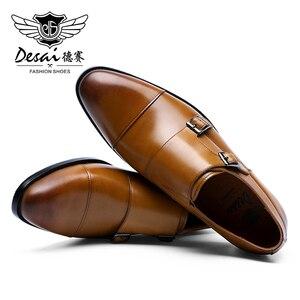 Image 4 - DESAI رجل جلد أصلي للرجال عارضة اليدوية مخصص نمط اللباس الحذاء صنع في الصين 2019