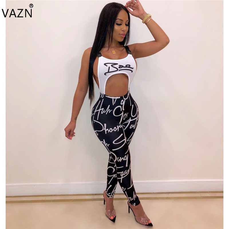 VAZN OMY5168 Weiß Neue Sommer Casual Ärmellose Overall Sexy Halter Overall Club Full Pant Strampler