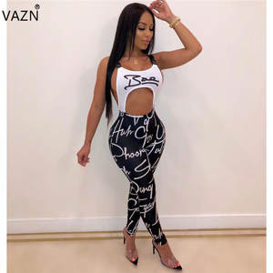 VAZN OMY5168 White New Summer Casual Sleeveless Jumpsuit Sexy Halter Jumpsuit Club Full Pant Rompers